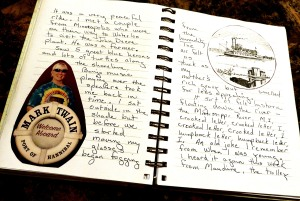 Pages from my journal  written when I was in Hannibal, Missouri, and took a paddleboat cruise on the Mississippi River.