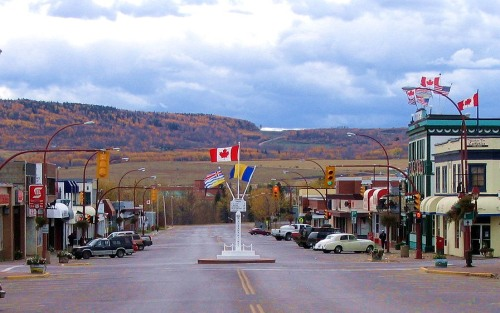 Dawson Creek and the Mile 0 Post that represents the start of the Alaskan Highway. -- Wikimedia photo