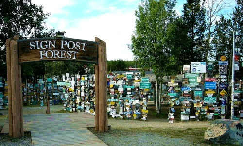 The Sign Post Forest at Watson Lake alongside the Alaskan Highway. -- Wikimedia photo