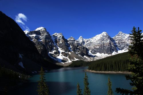 Of all the marvelous sights I saw this day, Moraine Lake touched my soul the most. -- Wikimedia photo