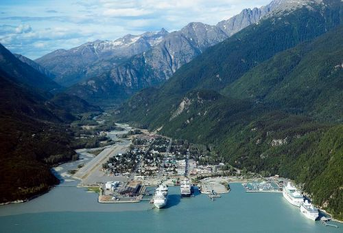 An aerial view of Skagway. -- Wikimedia photo