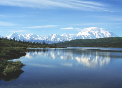 Wonder Lake with a reflection of Denali, a sight I didn't see because the mountain was covered in mist. -- Wikimedia photo