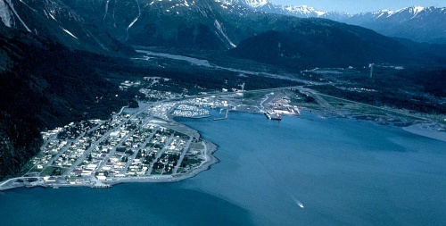 Aerial view of Seward, Alaska. -- Wikimedia photo