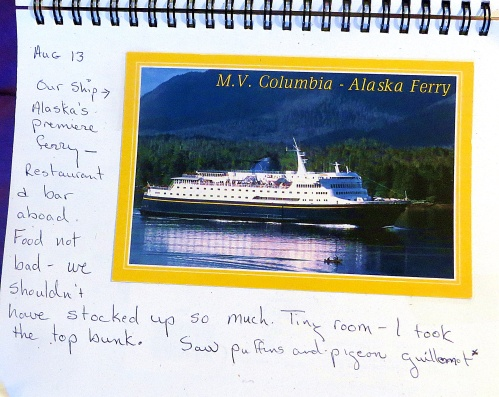 A page from my journal with a picture of the ferry that I took.
