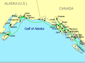 Map of the Alaskan Marine Highway.
